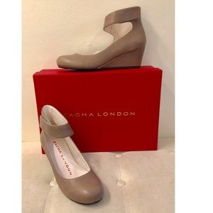 Sacha London Vespa Taupe Leather Wedges